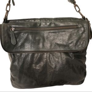 LATICO green leather two way messenger bag